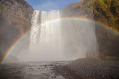 Skogafoss regnbåge Arkivbild