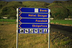 Skogafoss signpost. Signpost to Skogafoss waterfall, the bank and hotel Iceland Stock Photos