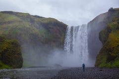 Skogafoss vattenfall Arkivfoton