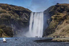 Skogafoss-Wasserfall aufgestellt auf dem Skogo-Fluss im Süden von Island an den Klippen der ehemaligen Küstenlinie lizenzfreie stockfotos