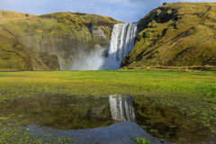 Skogafoss-Wasserfall mit Reflexion Stockbilder