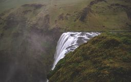 Skogafoss waterfall from above long time exposure in Iceland royalty free stock photos