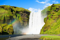 Skogafoss waterfall in Iceland. Royalty Free Stock Photo