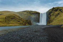 Skogafoss waterfall. Iceland. Long exposure Stock Photos