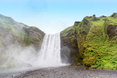 Skogafoss waterfall in Iceland from low angle Stock Images