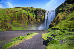 Skogafoss waterfall in Iceland. Royalty Free Stock Photos