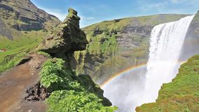 Skogafoss waterfall in Iceland stock video