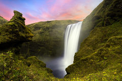 Skogafoss. Waterfall on iceland at sunset Royalty Free Stock Photography