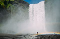 Skogafoss - a waterfall in Iceland with two rainbows stock photos