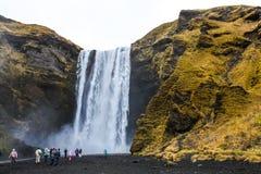 Skogafoss Waterfall in Iceland under Mýrdalsjökull glacier Stock Images