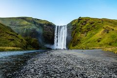 Skogafoss The waterfall is located on the cliffs of the former coast. Reaches a height of 60 m and a width of up to 25 m