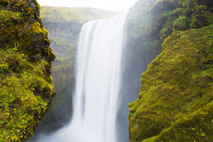 Skogafoss waterfall. At long exposure in Iceland Royalty Free Stock Photography