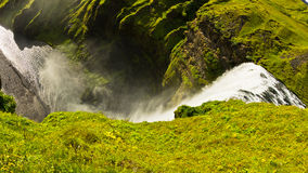 Skogafoss waterfall more than 200 feets high is  the highest waterfall in Iceland Stock Images