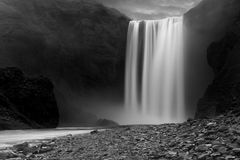 Skogafoss waterfall at night Royalty Free Stock Images