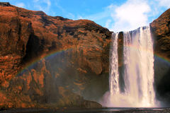 Skogafoss Waterfall with Rainbow, Iceland Royalty Free Stock Photos