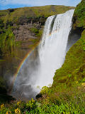 Skogafoss waterfall with rainbow