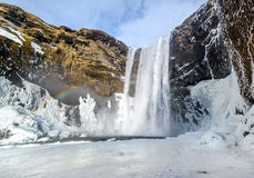 Skogafoss waterfall in south Iceland. During the cold of winter Royalty Free Stock Photos