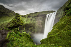 Skogafoss waterfall in southern Iceland from above Royalty Free Stock Image