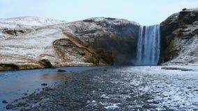 Skogafoss waterfall in winter, Skogar, South Region, Iceland