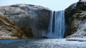 Skogafosswaterval, Skogar, Zuid-Gebied, IJsland stock video