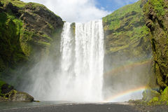 Skogarfoss on the Iceland with a rainbow Royalty Free Stock Images