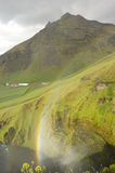 Skogarfoss landscape, Iceland. Scenic view from upper point of Skogarfoss waterfall in south east Iceland Stock Photo