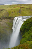 Skogarfoss waterfall, Iceland. Scenic view from upper point of Skogarfoss waterfall in south east Iceland Stock Images