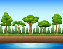 Skogbakgrund med floden och tunnelbanan stock illustrationer