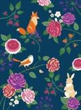 Skogdjur-, fågel- och blommabakgrund Arkivfoto