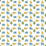 Skogdjurmodell Blå älg, gul kanin, blå björn, gul räv, grön gran Den sömlösa modellen för ungar planlägger Vit backgr vektor illustrationer