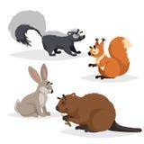 Skogdjuruppsättning Skunk, ekorre, hare och bäver Lyckligt le och gladlynta tecken Vektorzooillustrationer royaltyfri illustrationer