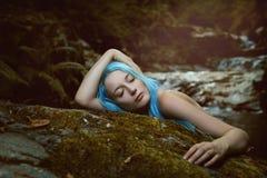 Skogdryad som fridfullt sover Arkivfoton