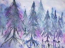 Skogen av sörjer träd i fantasisnö Arkivbild