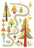 skogen går royaltyfri illustrationer