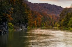 Skogflod i höstberg Royaltyfri Fotografi