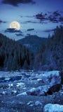 Skogflod med stenar och mossa på natten Royaltyfria Bilder
