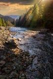 Skogflod med stenar och mossa på solnedgången Royaltyfri Fotografi