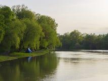 Skogfloden kan eftermiddagen soluppgång för liggandeflodfjäder Arkivfoto
