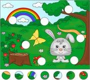 Skogglänta med en hare, stump, jordgubbar, fjäril, träd, Royaltyfri Fotografi