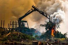 Skogklipp, bränna av skogavfalls Rök och brand, traktor n Royaltyfri Bild