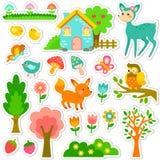 Skogklistermärkedesign stock illustrationer