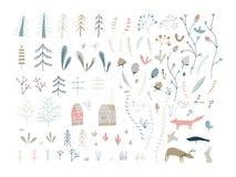 Skogklotterbeståndsdelar Hand drog gulliga illustrationer stock illustrationer