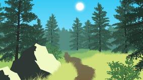Skoglandskapillustration Royaltyfria Bilder