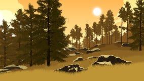 Skoglandskapillustration Royaltyfri Bild