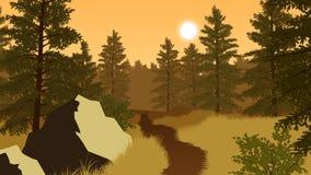 Skoglandskapillustration Arkivbild