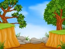Skogplats med bergklippan royaltyfri illustrationer