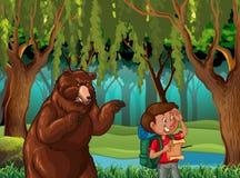Skogplats med fotvandraren och björnen royaltyfri illustrationer