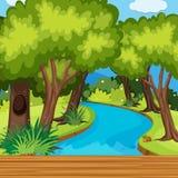 Skogplats med många träd och floden stock illustrationer