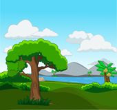 Skogplats med många träd och flodillustrationen royaltyfri illustrationer