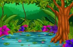 Skogplats med sjön stock illustrationer